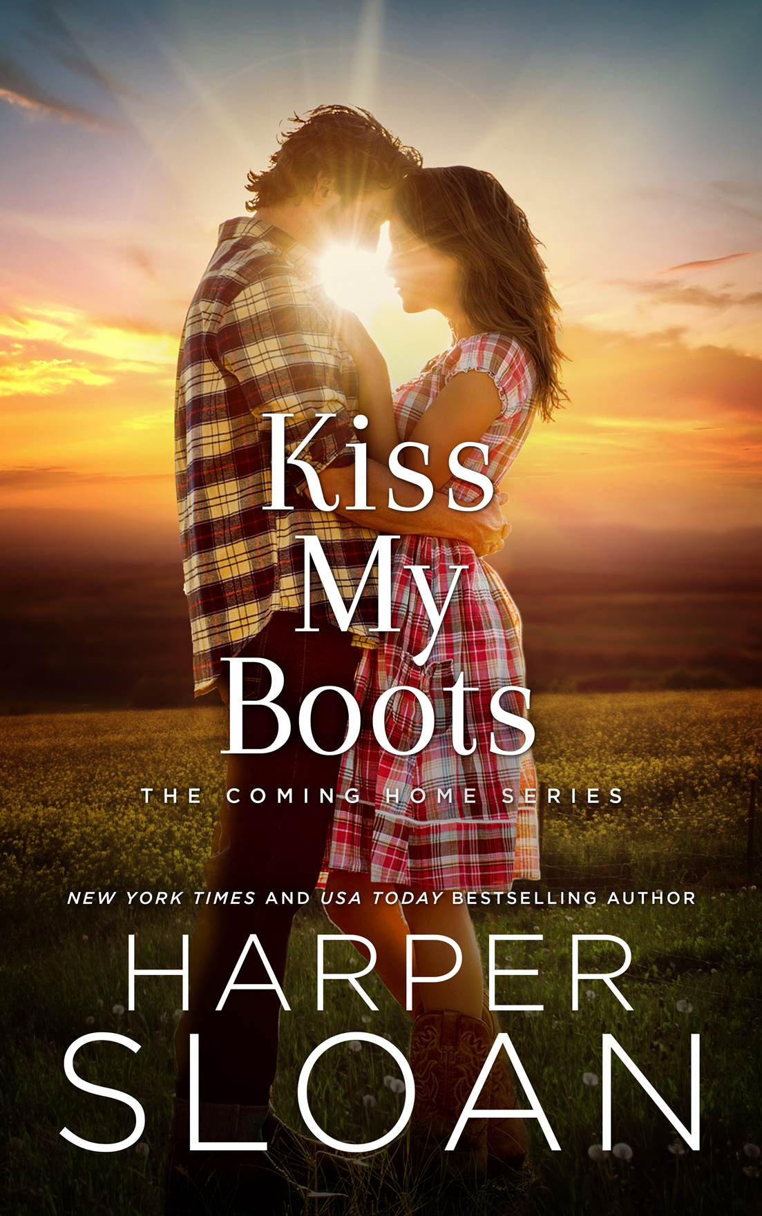 KISS MY BOOTS ~By Harper Sloan   In this second of the sultry, Western-set Coming Home series from   New York Times  bestselling author Harper Sloan, Quinn Davis might finally have a shot at her own happily-ever-after—but will she let love in, or will she tell it to go ahead and kiss her boots?    Quinn Davis prefers to live her life quietly. She's the stereotypical tomboy with two overprotective big brothers who have always been there to protect her, especially from devilishly handsome cowboys with silver tongues. That is, until Tate Montgomery comes riding into town. Their first meeting, however, is far from something out of a fairy tale and only further convinces Quinn that men aren't worth her time.    The only place Tate Montgomery ever truly felt at home growing up was during the long, sweltering summer months he spent at his Gram and Paw's farm in Pine Oak, Texas. Now, Tate has returned to his childhood sanctuary seeking a fresh start—but if he's being entirely honest, he's not just back for the wranglers and Stetsons. During those summers, Quinn was a friend-turned-young-love who Tate lost when life threw him a curveball and he cut all ties to his past; but all it takes is one glance at the raven-haired beauty he did his best to forget for him to realize just how much he's been missing….    Amazon US  ~ Amazon Paperback    Amazon UK  ~ Amazon AU  ~  Amazon CA     B&N  ~ Kobo  ~  iBooks  ~ BAM  ~  Google