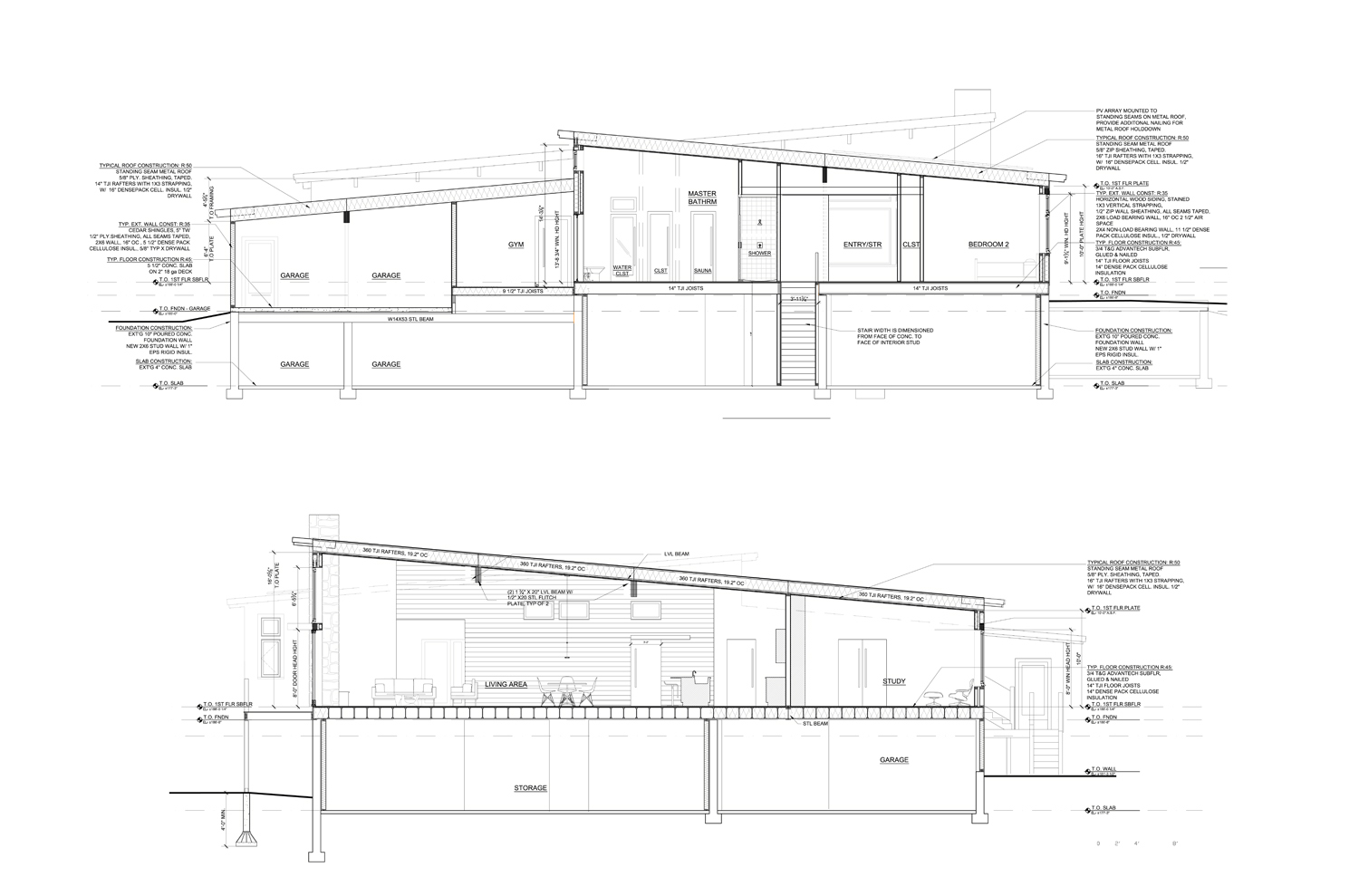 Construction Documents Phase: Sections through Net Zero Lincoln