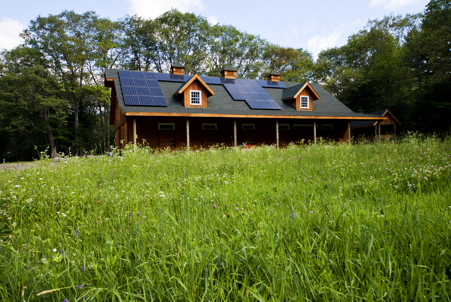 The Lincoln Net Zero site had an existing barn on a corner of the property that was unobstructed by trees and faced due south for optimal solar gain.