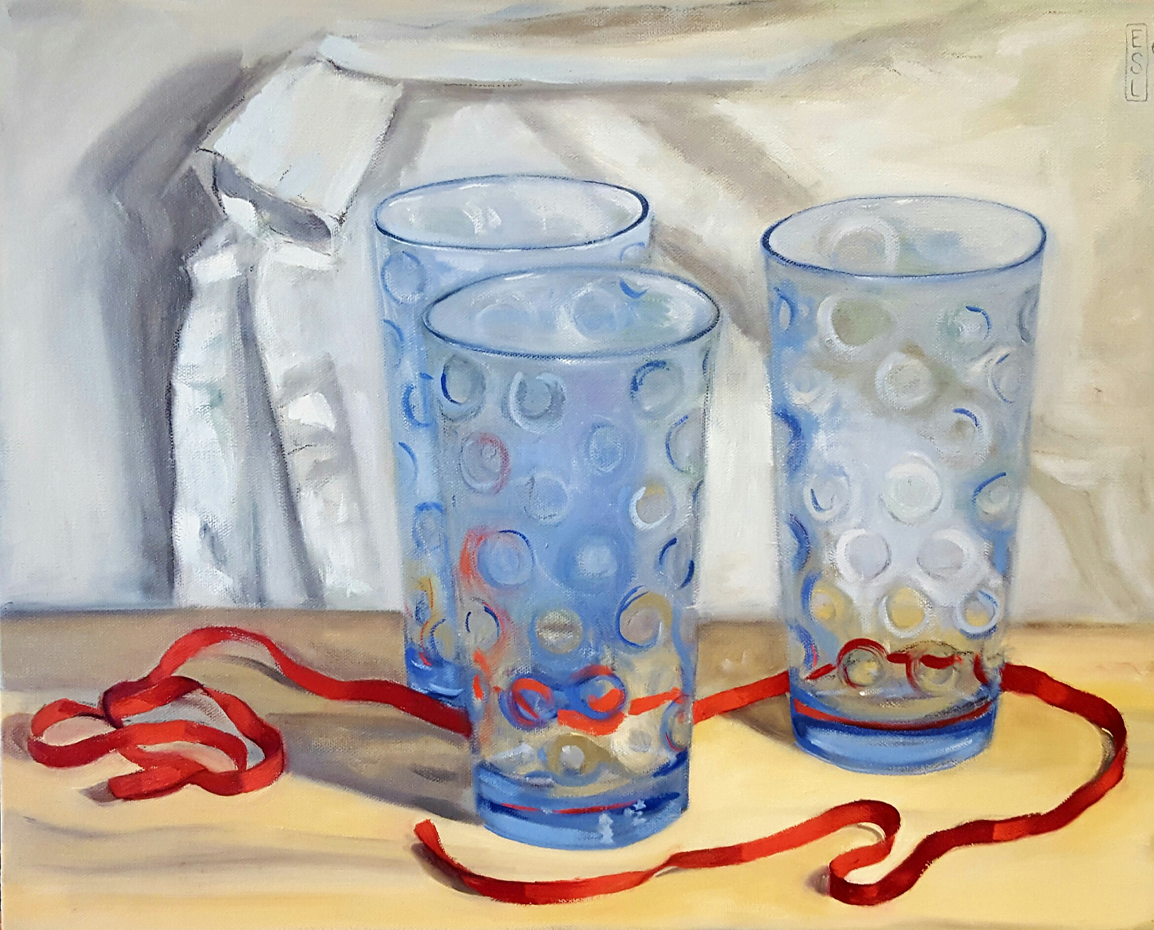 Blue Glasses with Red Ribbon