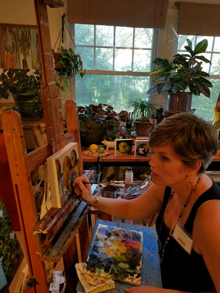 Here I am painting from life during the tour- Asian pears and Mahjong tiles!