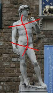 Michelangelo using contrapposto.