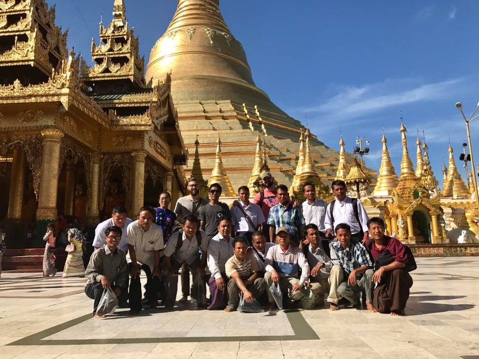 Church planters in Myanmar during a prayer walk at the world's largest Buddhist temple