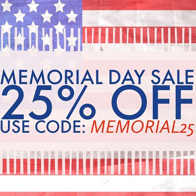"🇺🇸 MEMORIAL DAY SALE! 🇺🇸 — Use code ""MEMORIAL25"" for 25% off all purchases today through Monday! — www.IronRisingApparel.com — #ironrisingapparel #handdrawn"