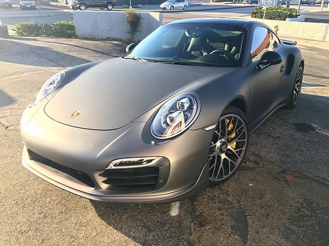 | 911 Turbo S | Completely wrapped up in matte metallic gunmetal and finished off with 3M Crystalline.. one of the highest end window films on the market #beachcitytint #redondobeach #manhattanbeach #hermosabeach #elsegundo #sounthbay #porsche #911turboS #windowfilm #wrap #ppf #qualityoverquantity #inthefilmbusiness