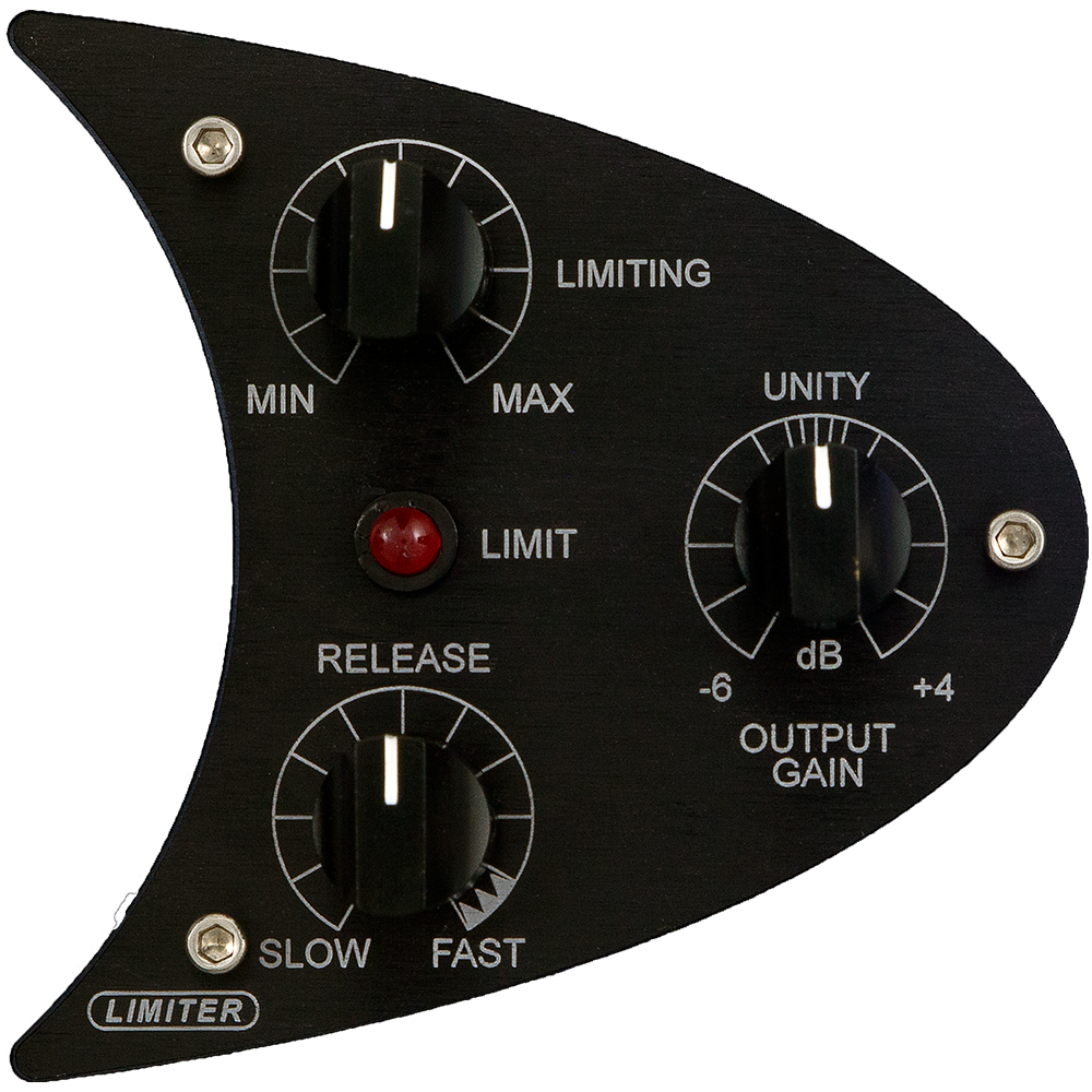 "LIMITER - Fast attack FET ""brickwall"" limiterContinuously Variable Threshold and Release controlsPeak Limit LED indicator10dB range output gain control"