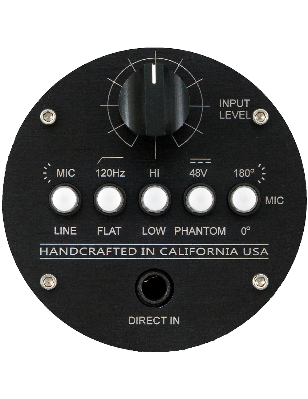 FRONT PANEL CONTROLS + DIRECT INPUT - 48V Phantom power switch120Hz High Pass Filter switchPhase Invert switchInput Attenuator (Variable Pad)Mic Pre Selectable Gain 40dB or 60dBLine Amp Selectable Gain 20dB or 40dBDIRECT IN: Similar to the DI in the Manley SLAM!®, this all-discrete solid-state circuit with 10 Meg Ohm input impedance is perfect for guitars, bass, keyboards, etc.
