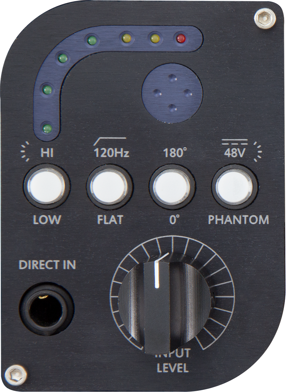 - 7-Segment LED Peak MeteringSelectable Gain, LOW vs HIGH120Hz High Pass Filter switchPhase Invert switch48V Phantom power switchInput Attenuator (Variable Pad)Silent Input Level Control (Variable Input Pad)1/4