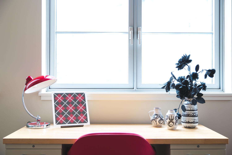 Argyle Dark Red on a Desk