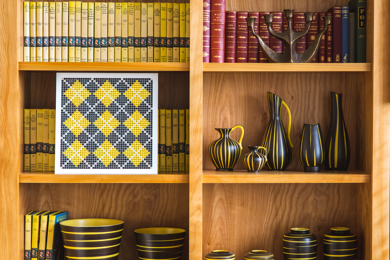 Argyle Yellow on a Bookshelf