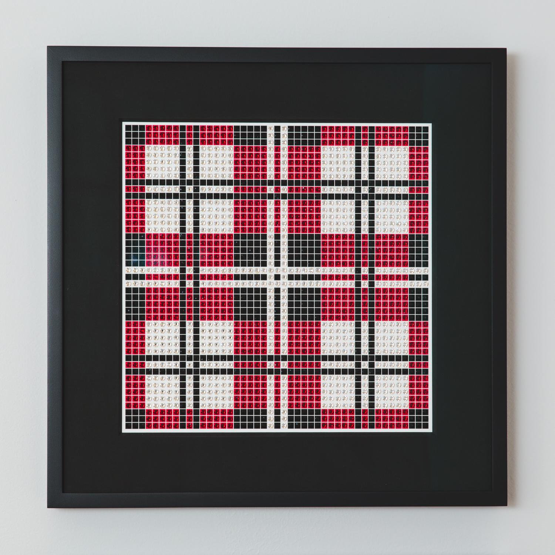 Tartan Dark Red with black frame and black mat