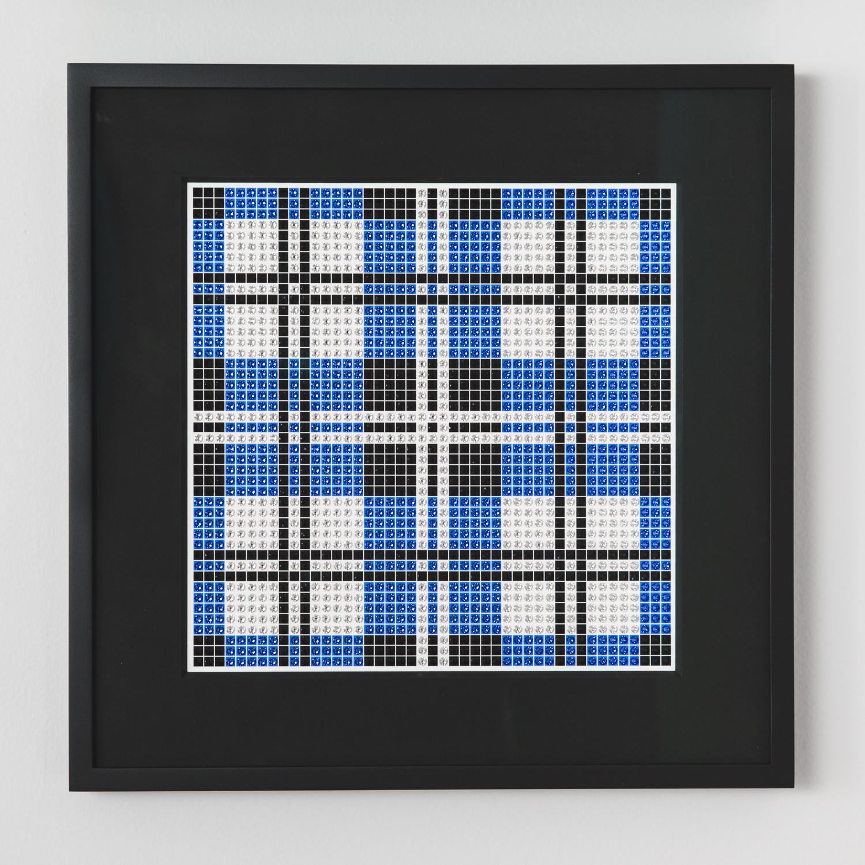 Tartan Blue with black frame and black mat
