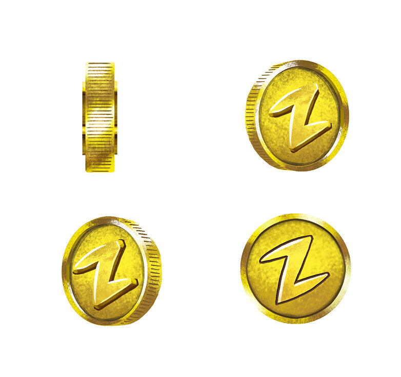 Various angles of the coin were created to spin for animation.