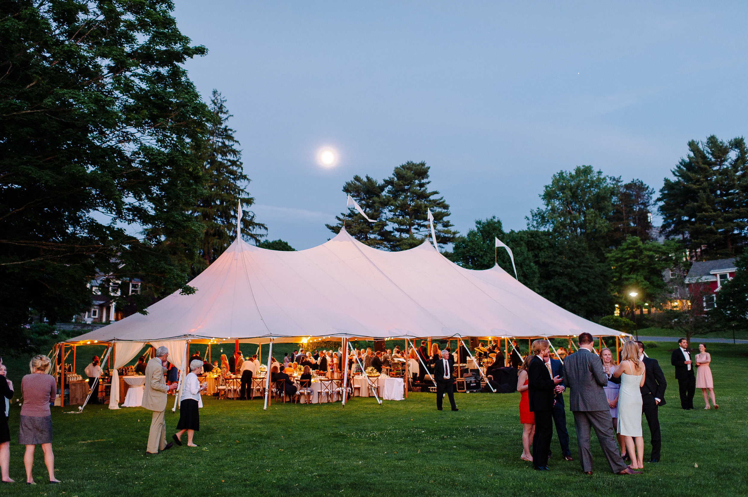 Outdoor tented reception at Colgate University in Hamilton, NY