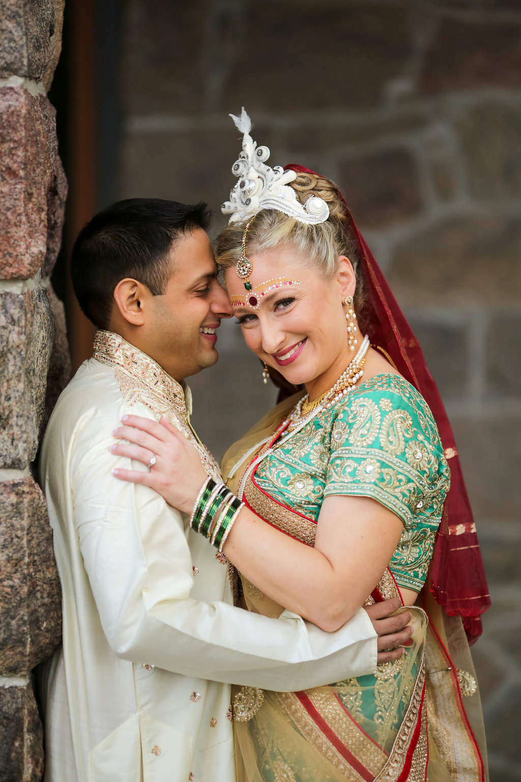 Indian groom and Jewish bride at the Inn at Erlowest in Lake George, NY