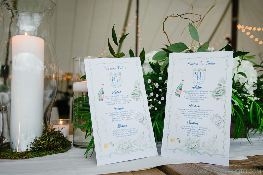 These personalized menu cards were fab!