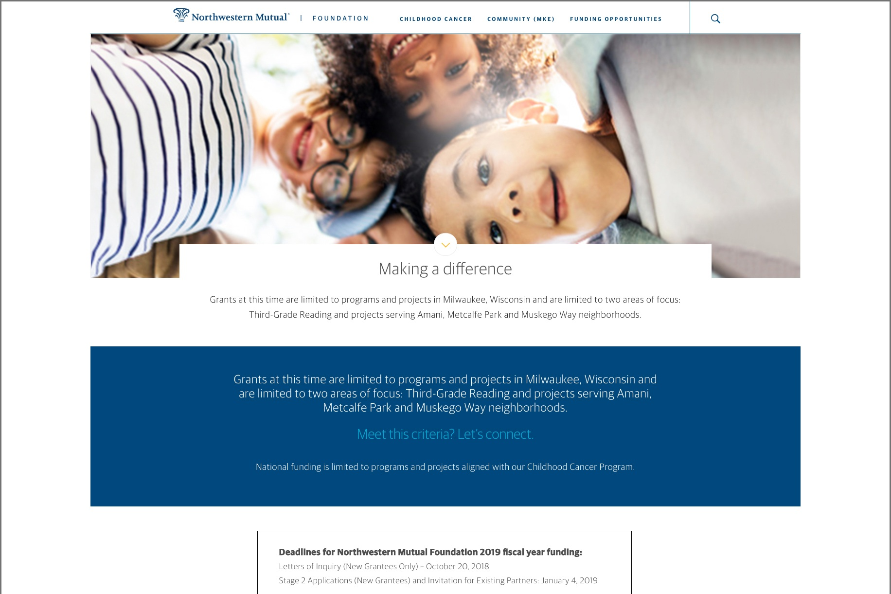 Web page for the Northwestern Mutual Foundation site