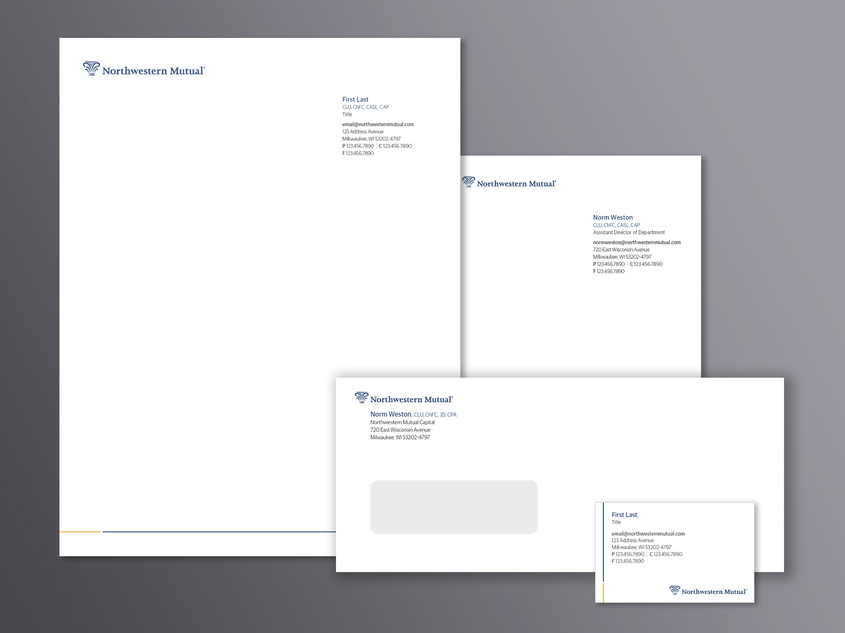 Northwestern Mutual Stationery: Letterhead, business card, memo pad and letter