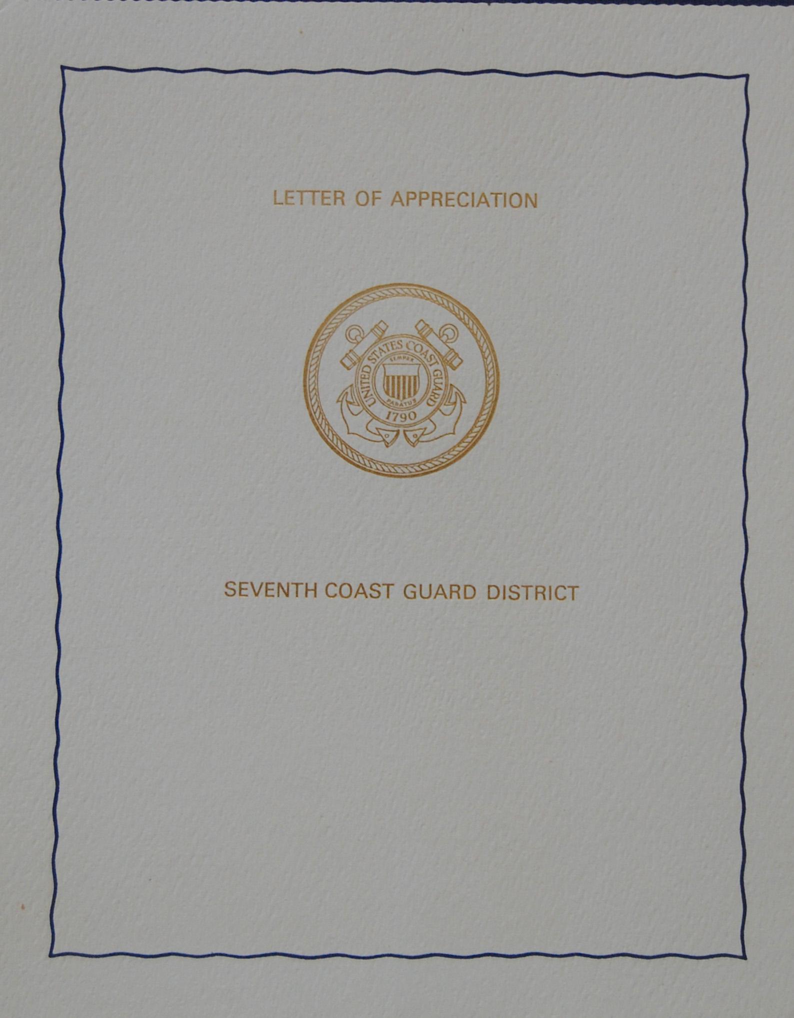 USCG Letter of Appreciation Pg 1 Cover 1976.jpg