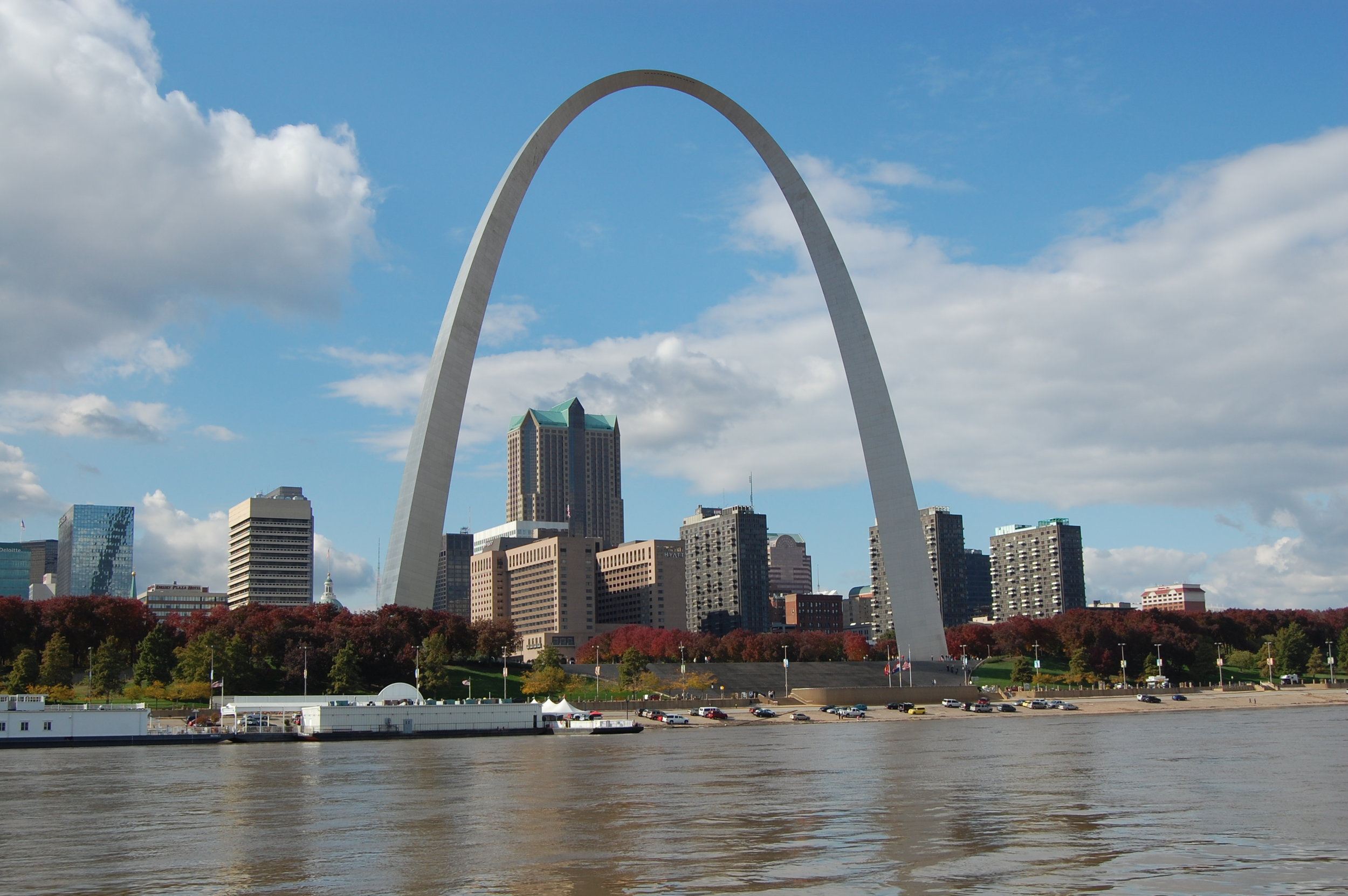 Downbound through St. Louis on the Mississippi River.