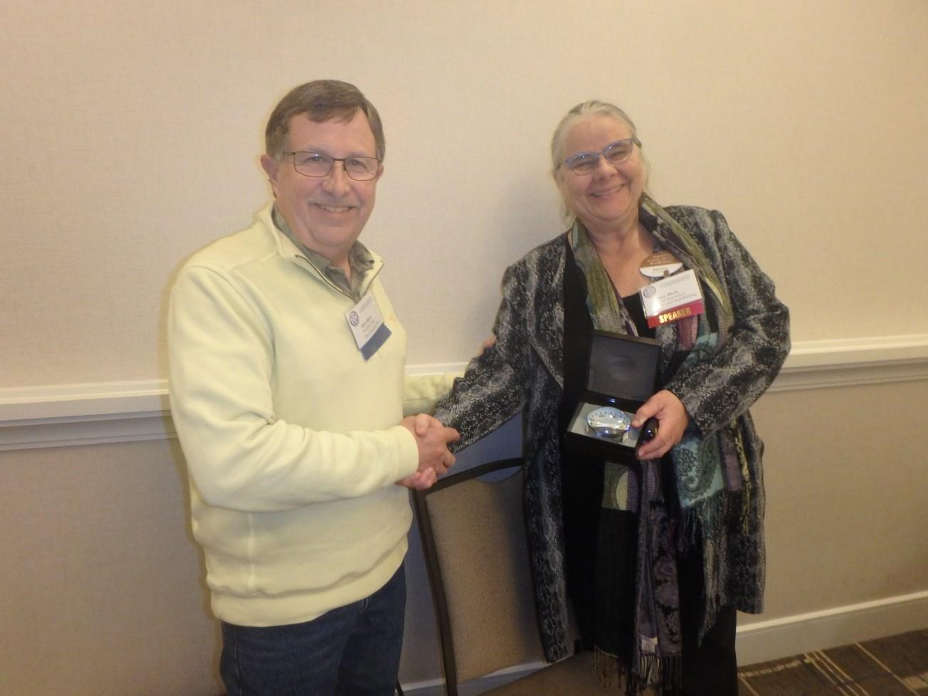 NAMS Regional VP John Baird & speaker Betsy Davis of Northwest School of Wooden Boatbuilding