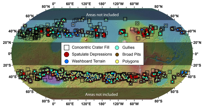 Global distribution of paraglacial features in glaciated crater interiors.