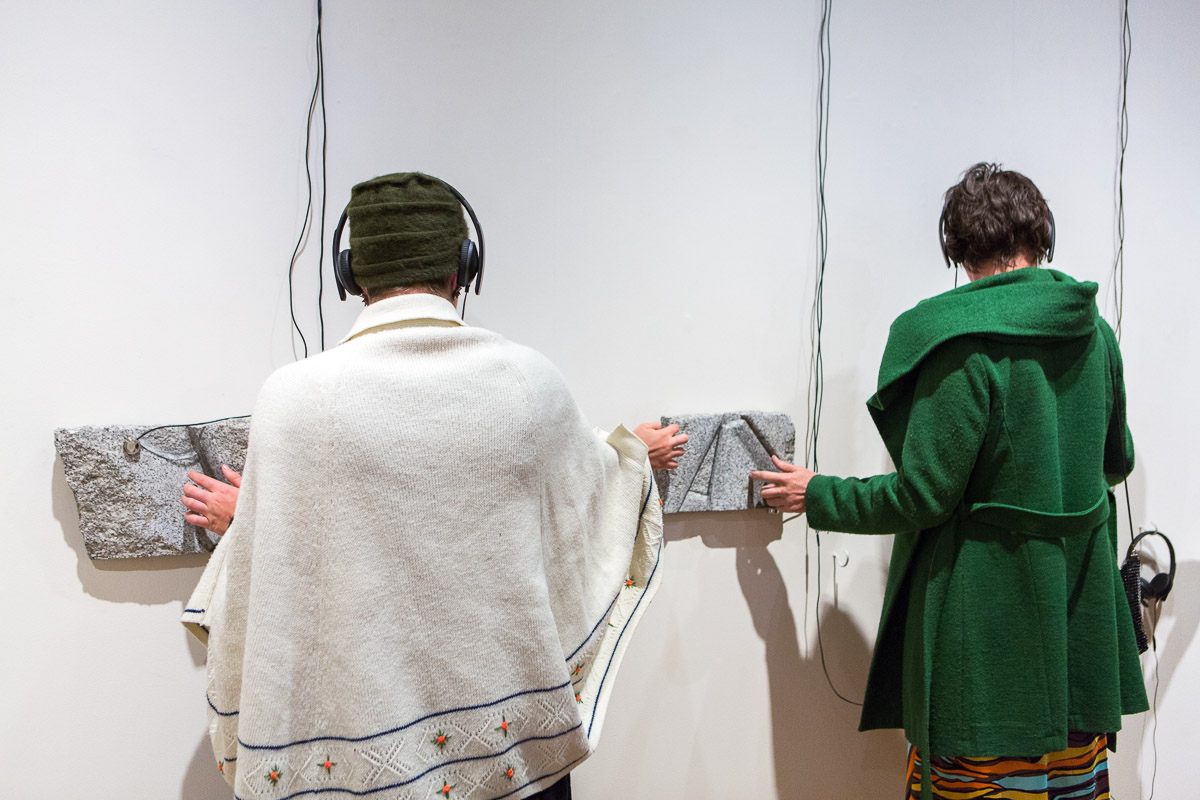 Fayen d'Evie and Bryan Phillips, 'Reading 'Sequence' / Tactile Re-call,' 2018.  With Seeing Hands , Incinerator Gallery, 7 Apr - 20 May. Photo by Nicola Dracoulis.