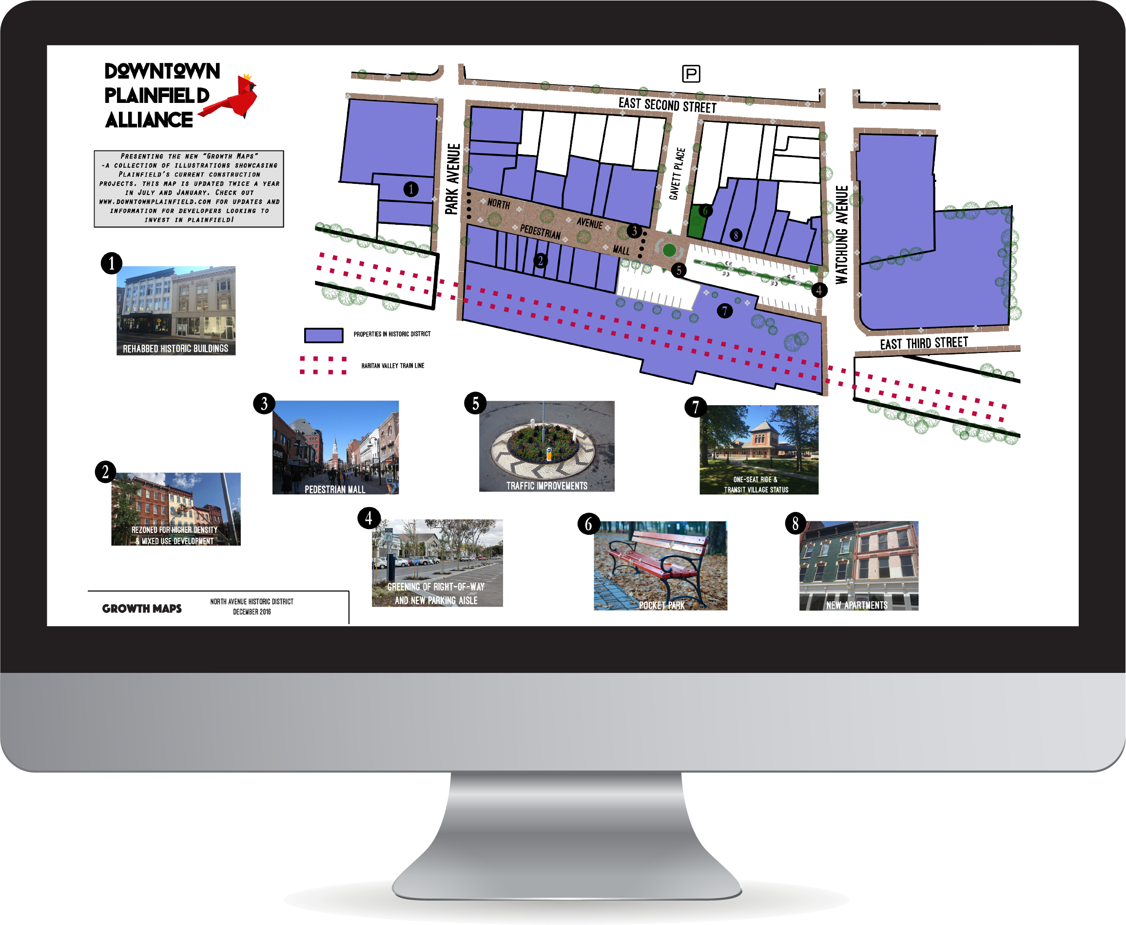 Plainfield Growth Maps March 1, 2017    The  Downtown Plainfield Alliance growth maps show all new development in Plainfield, NJ. The series of 4 maps are updated bi-annually in July and January.