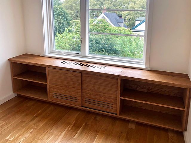 Part ✌️ of the built-ins. White oak with ventilation (for the AC/heating unit inside). #woodworking #cabinetry #carpentry #whiteoak #wood #wooddesign #minimalism #customfurniture #nycdesigner #brooklynmade