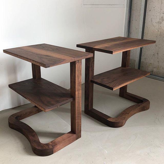 Cantilevered walnut side tables. . . . . #woodworking #scandinaviandesign #furnituredesign #furniture #wood #walnut #brooklyn #madeinbrooklyn #rubiomonocoat #carpentry  @sparkworkshop