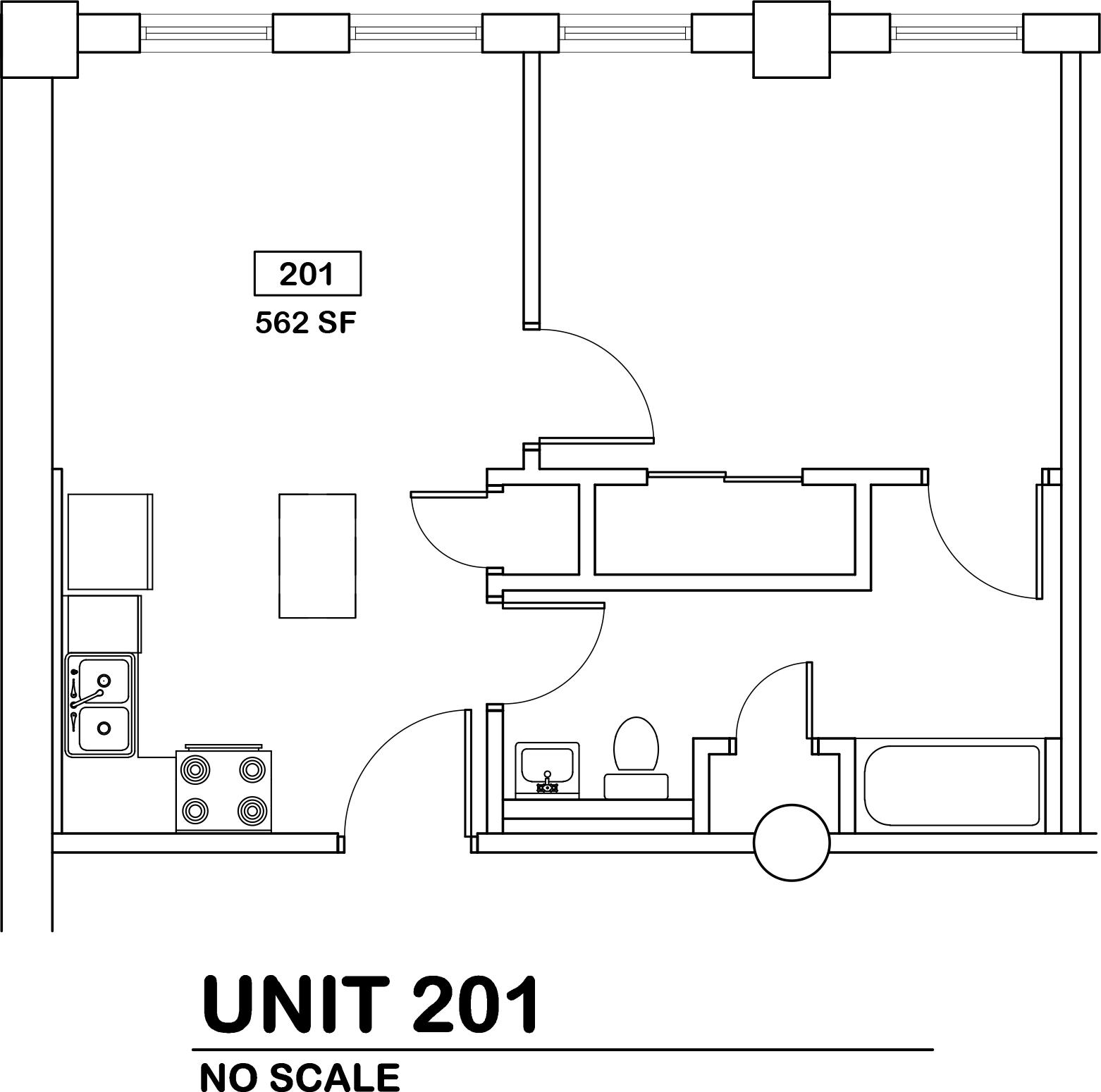 1 bed / 1 bath $695 / 562 sq ft