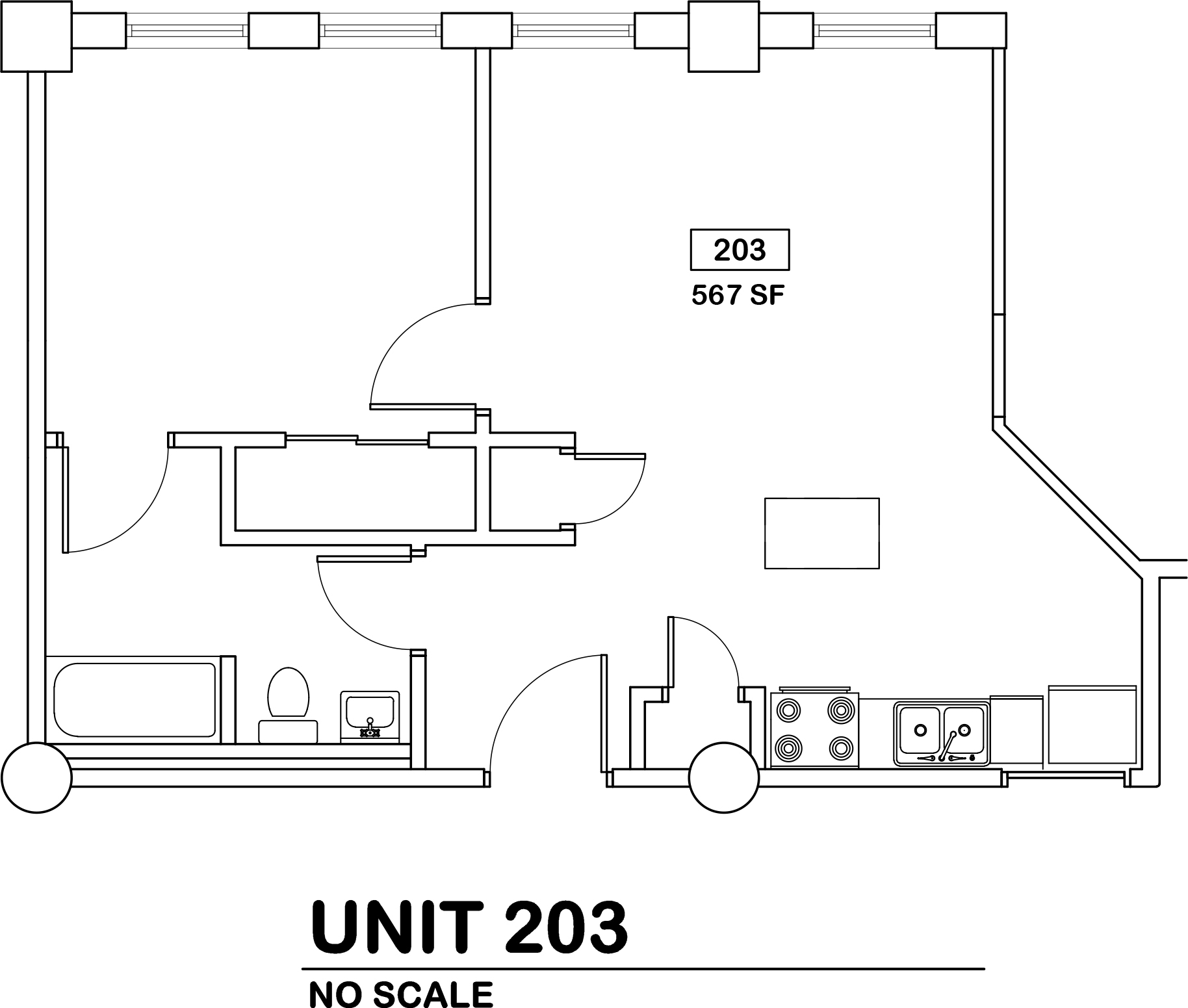 1 bed / 1 bath   $690 / 567 sq ft