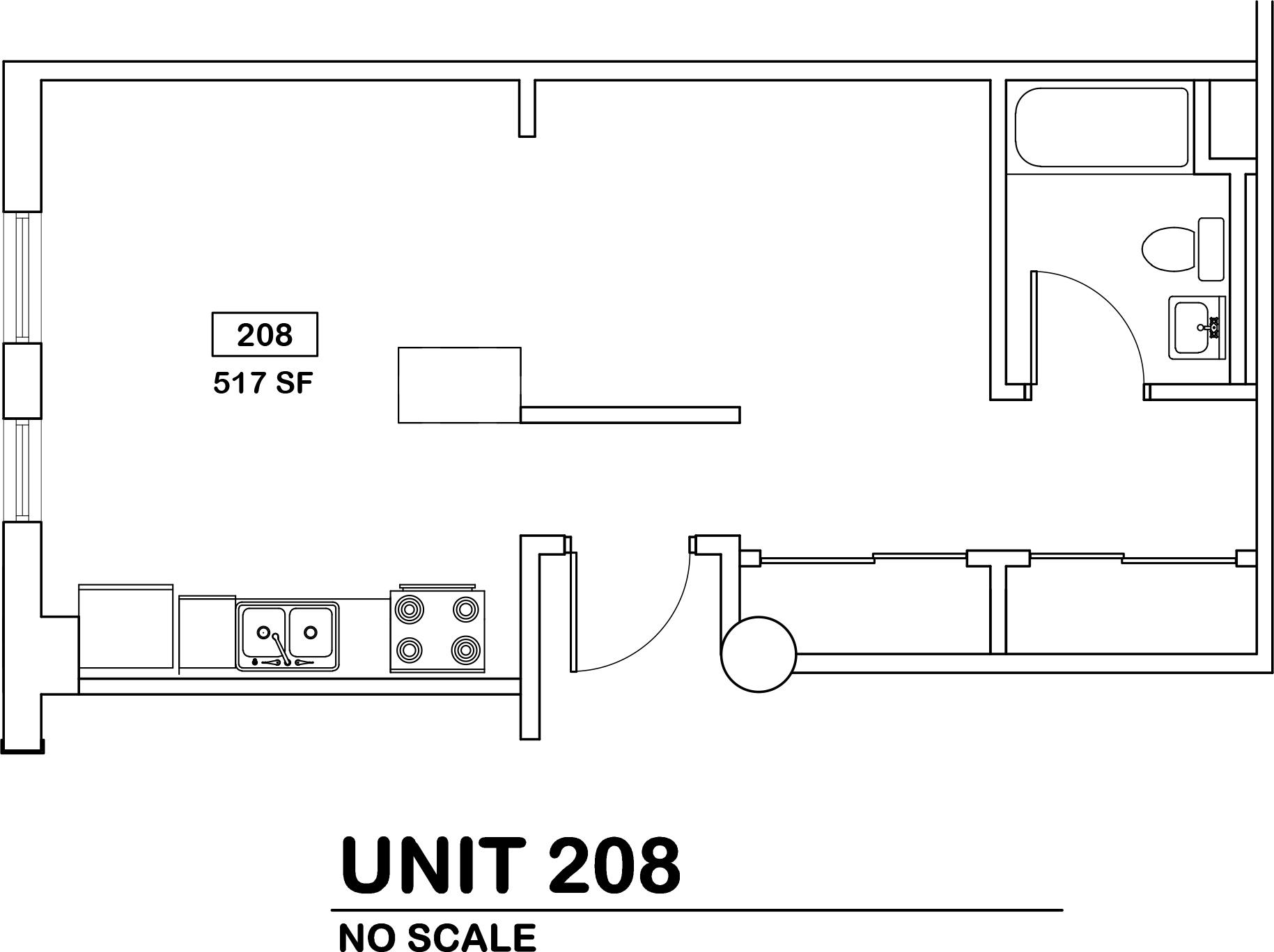 1 bed / 1 bath   $650 / 517 sq ft