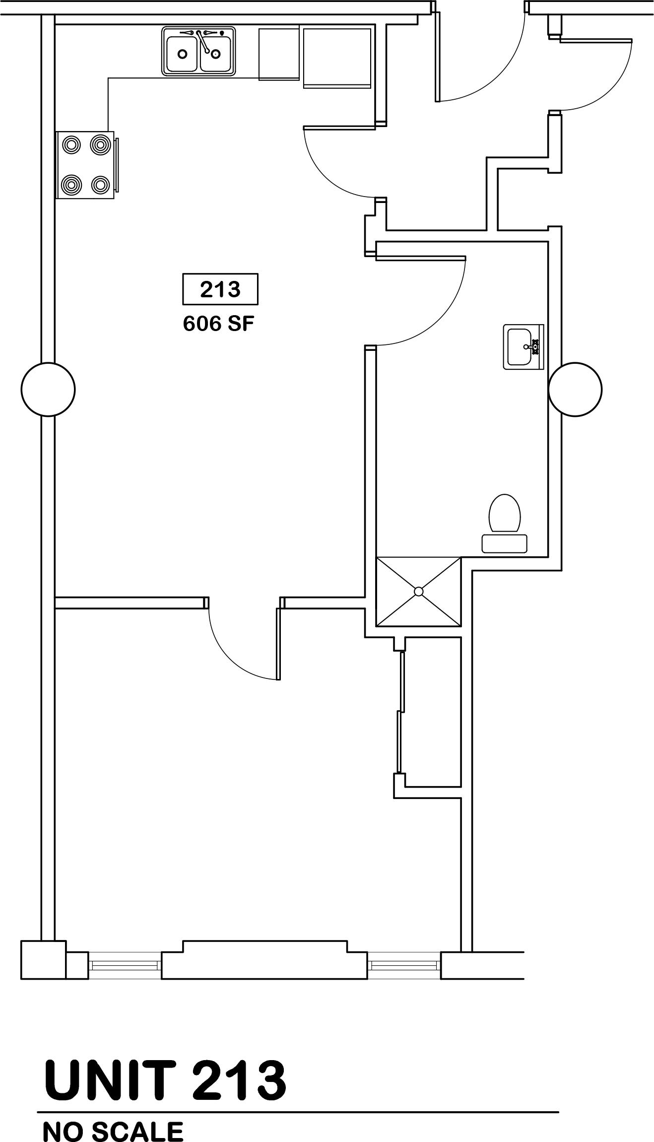 1 bed / 1 bath   $510 / 606 sq ft