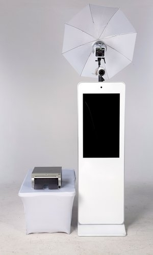 The Selfie Station  We offer the Selfie Station, by far the sleekest photo booth design on the market today. We typically only need a 10 feet by 10 feet work space, so you do not have to worry about a large apparatus creating an eyesore at your event.
