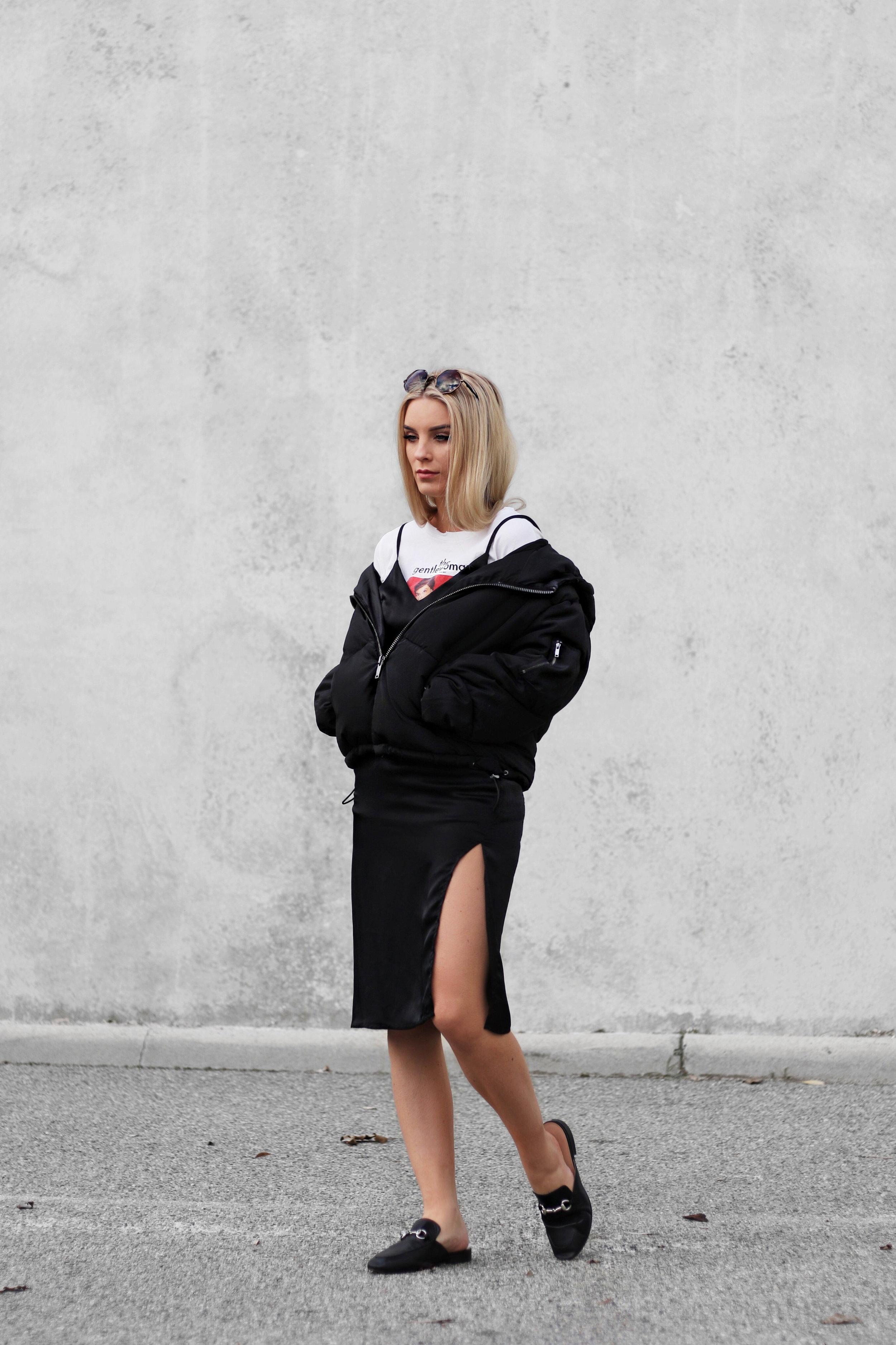 Puffer Jacket with slip dress | Izzy Wears Blog