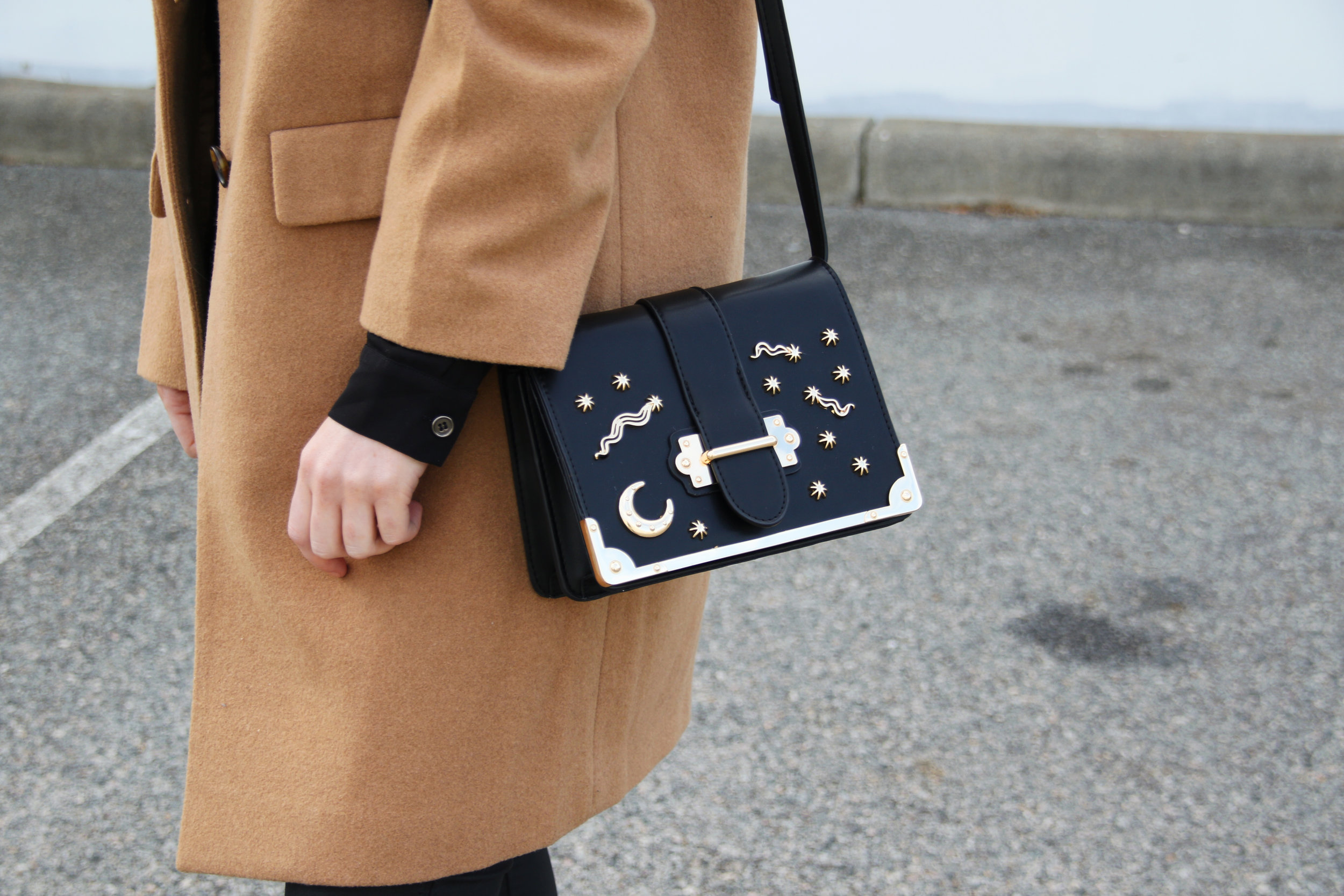 Camel Coat for Winter and Moon and Star Bag | Izzy Wears Blog