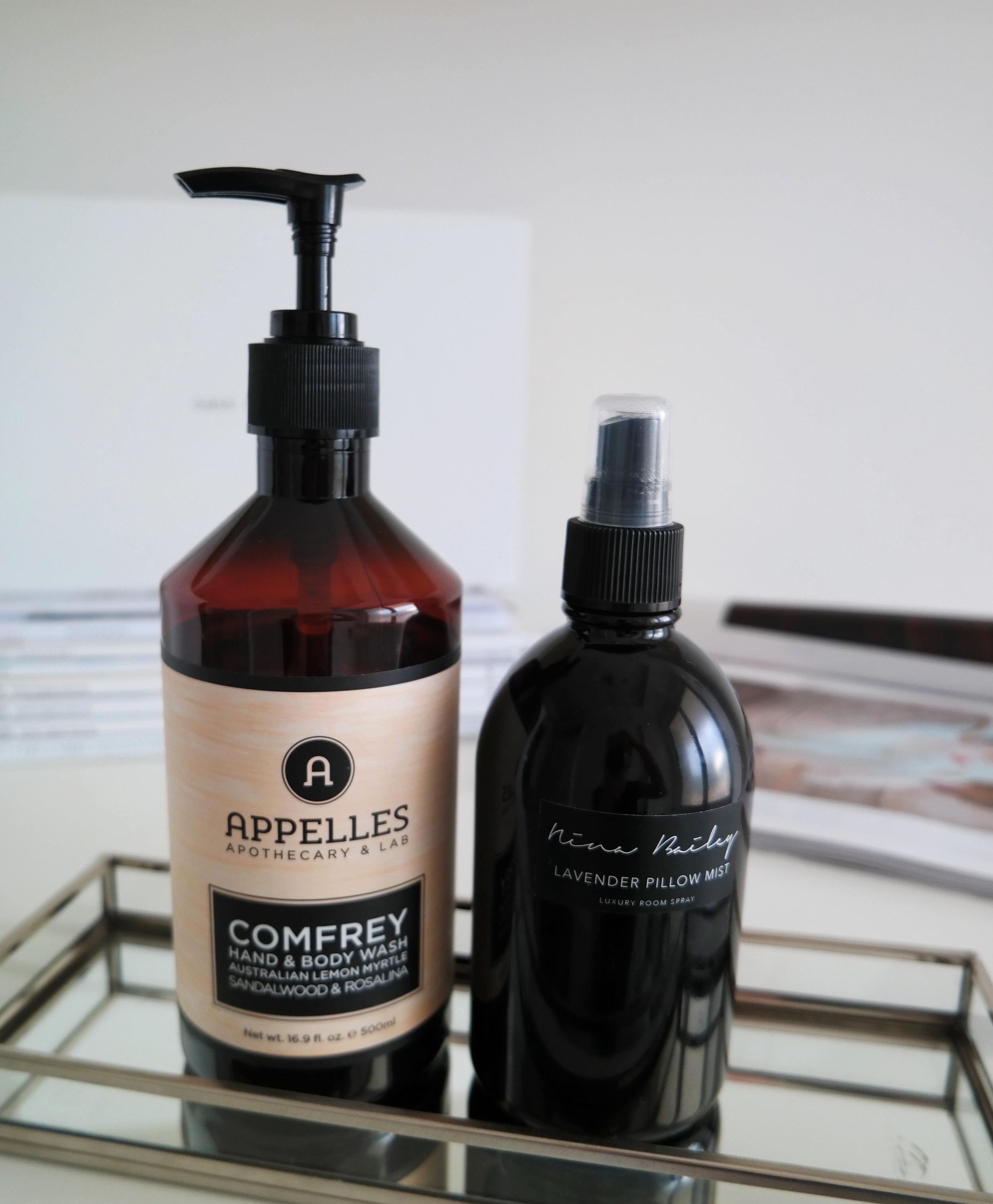 Apelles Comfrey Hand and Body Wash / Nina Bailey Lavender Pillow Mist