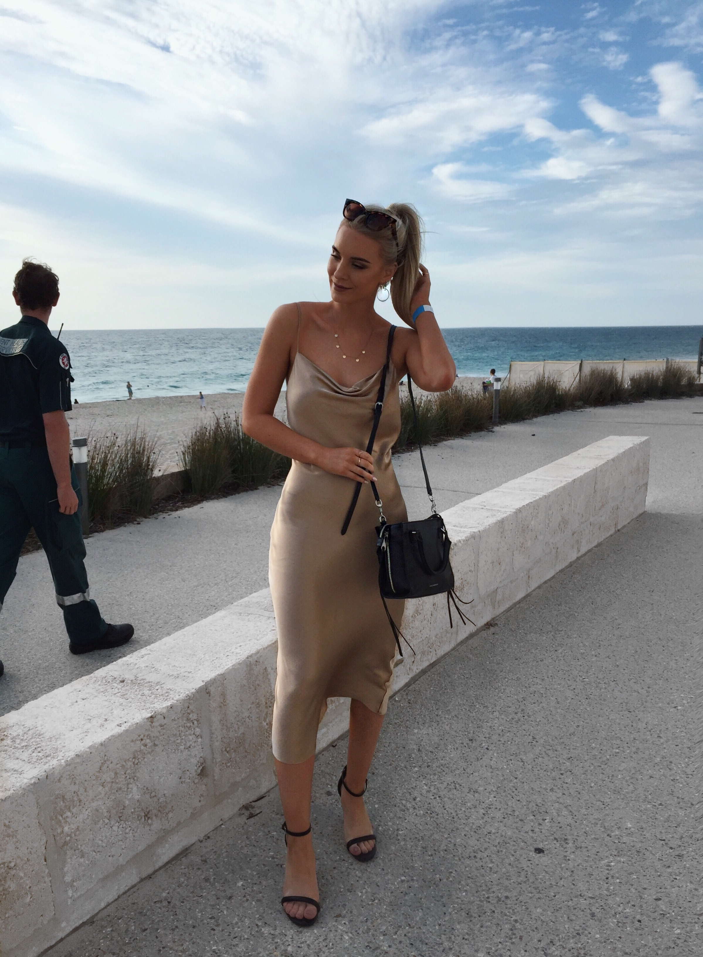 Izzy Smith at Swim Resort 2017 Perth Blogger - Bec and Bridge Gold Dress