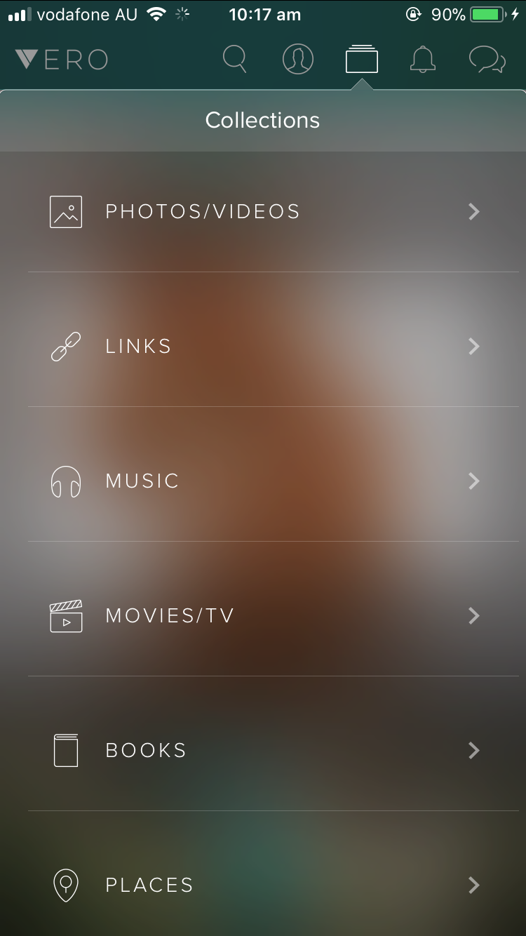 Vero Collections page - Media categorised