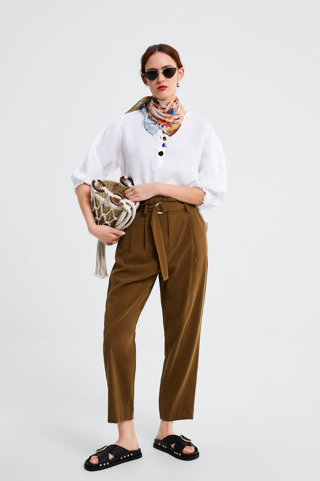 BELTED PAPERBAG WAIST TROUSERS