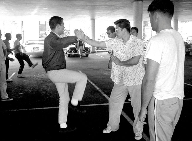 Training for Bruce Lee's first class in Seattle in the early 1960s was highly informal. The location was a covered parking garage, no uniform required.jpg