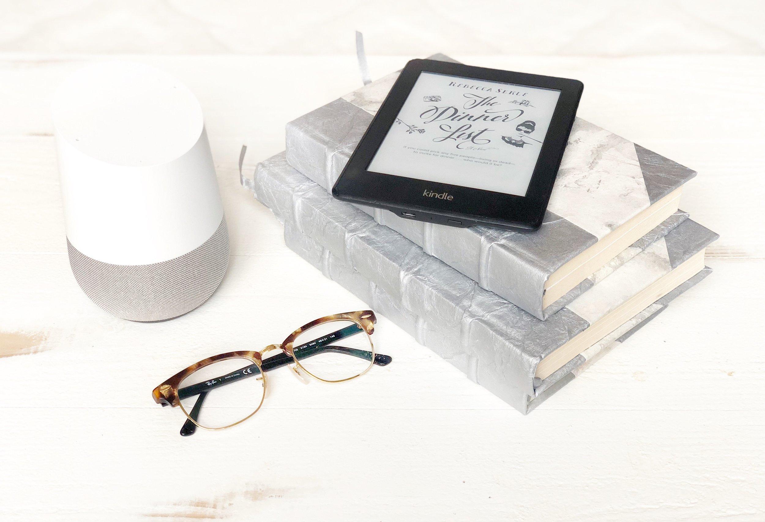 Speaker,       Kindle,       Glasses