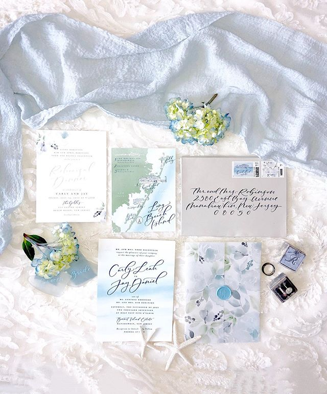 My wedding photographer never took pretty pics of my invite suite so my sweet mama @rachelellentuck_photography took some for me (we're just a tad delayed haha). @stephb_andco made all of our beachy dreams and visions for our invites come true (and more)! My favorite part is the map of our beloved LBI! #CarlyandJayByTheBay