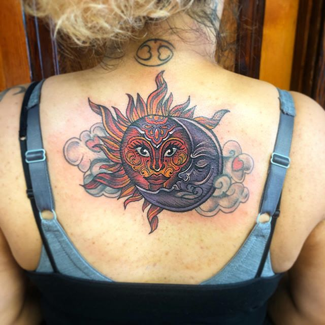 Epic coverup on a super fun and rad lady! I am so honored to help usher in a new energy and approach to the next chapter in your life! Thank you so much for your trust and for being so strong! 🌞 🌙 💕 created @pmatattoopgh