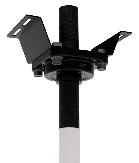 The top mount features a ball joint to accommodate slanted ceilings.