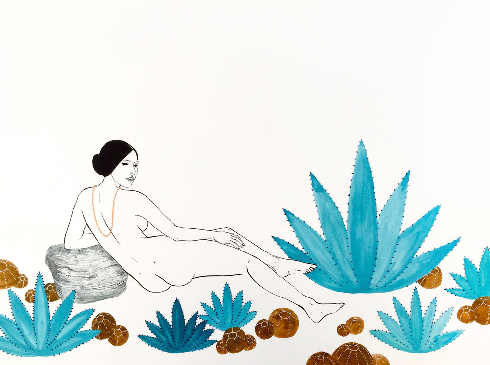 """""""Lounger I,"""" Courtesy of Alisha Sofia  – I love the elegant female silhouette juxtaposed with rocks and succulents in this simple, yet powerful, piece."""