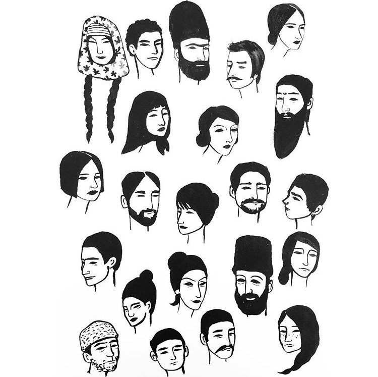 """""""Caucasian,"""" Courtesy of Alisha Sofia  – This simple illustration showcases the varied, unique beauty of people native to the Caucasus Mountain range, which includes not only Armenians, but a host of other groups, such as Georgians, Azeris, Chechens, and Lezgins."""