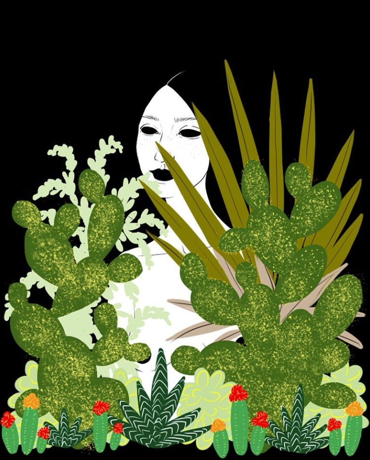 """""""Hidden,"""" Courtesy of Alisha Sofia  – This piece perfectly exemplifies how Alisha brings in Southern Californian foliage, represented by lush green succulents, and combines them with human silhouettes for beautifully vibrant, unique art."""