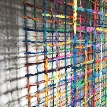 Moving Through (2015) acrylic paint on nylon, 4 panels